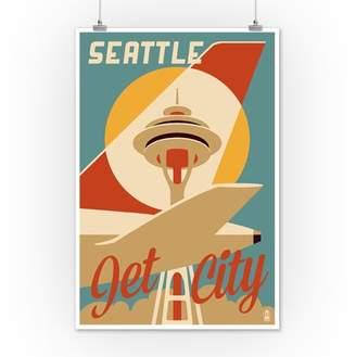 Seattle, Washington - Jet City - Lantern Press Artwork (12x18 Art Print, Wall Decor Travel Poster)