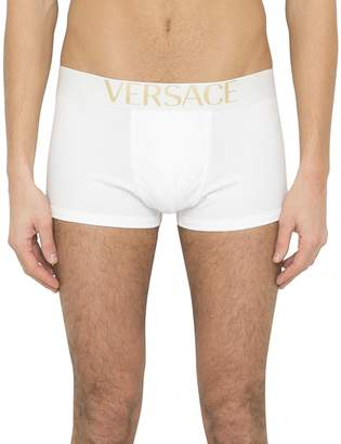 Versace White Logo Jersey Cotton Boxer Briefs
