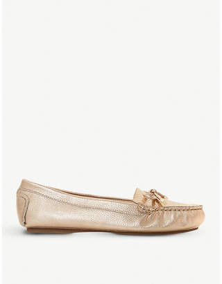 Dune Geenova crocodile-embossed metallic leather loafers
