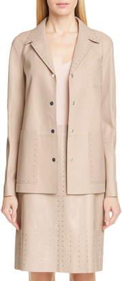 Lafayette 148 New York Jolisa Grommet Detail Leather Jacket
