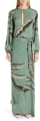 Johanna Ortiz Palm Print Silk Maxi Dress
