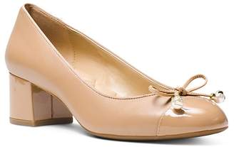 MICHAEL Michael Kors Women's Gia Leather Cap Toe Mid Heel Pumps