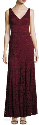 Vera Wang Sleeveless Double-V Lace Mermaid Gown, Wine $269 thestylecure.com