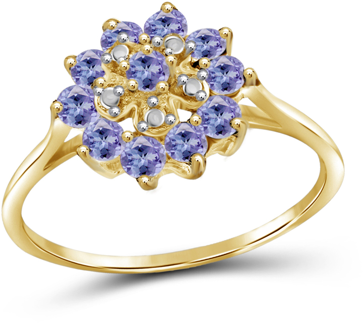 1 1/8 CT TW Tanzanite Gold-Plated Sterling Silver Floral Halo Ring by JewelonFire