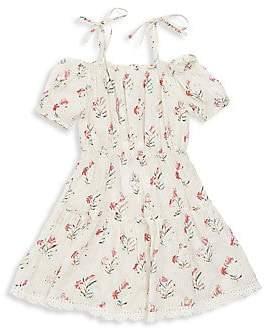 HEMANT AND NANDITA Little Girl's & Girl's Floral Print Cold-Shoulder A-Line Dress