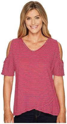 Fresh Produce Pinstripe Crossover Escape Top Women's Clothing