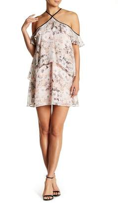 BCBGeneration Cold Shoulder Tiered Ruffle Dress