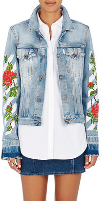 Off-White c/o Virgil Abloh Women's Cotton Denim Embroidered Jacket $995 thestylecure.com