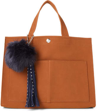Imoshion Cognac Pom-Pom Faux Suede Satchel