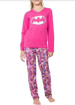 DC Girl's Batgirl Logo Yoga 2 Piece Pajama Sleep Set (Big Girls & Little Girls)