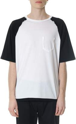 Maison Margiela White And Blu Raglan Sleeves Model Cotton T-shirt