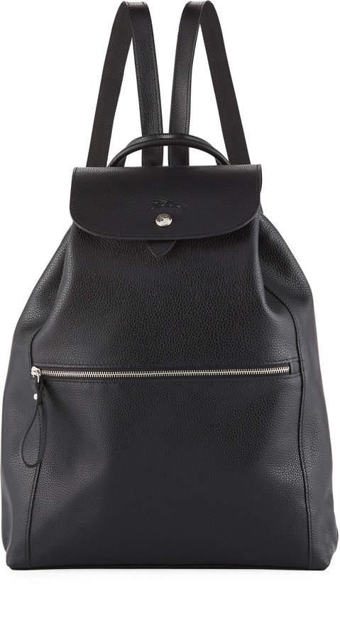 Longchamp Veau Foulonne Leather Backpack - BLACK - STYLE