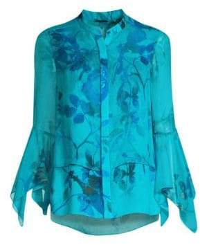 Elie Tahari Women's Eve Floral Blouse - Aegean Sea - Size Medium