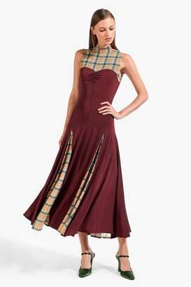 STAUD Jerri Dress | Merlot Butterscotch Plaid