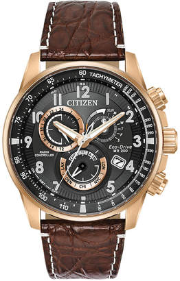 Citizen Eco-Drive Men's Chronograph Perpetual Chrono A-t Brown Leather Strap Watch 44mm
