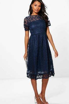 boohoo Boutique Emi Embroidered Trim Midi Skater Dress $44 thestylecure.com