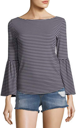 Frame Boat-Neck Bell-Sleeve Striped Top