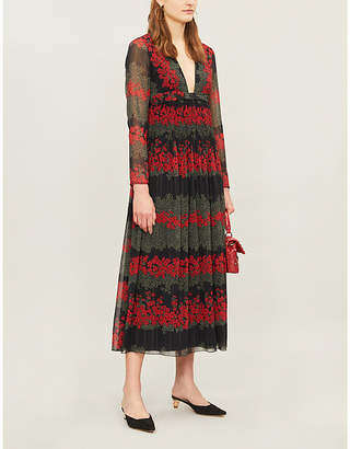 RED Valentino Dreaming Peony-print long-sleeved crepe dress