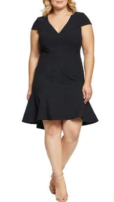 Dress the Population Bettie High/Low Ruffle Hem Cocktail Dress