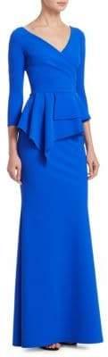Chiara Boni Peplum Floor-Length Gown