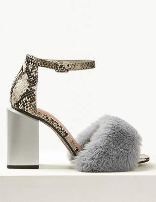 Marks and Spencer Wide Fit Statement Heel Faux Fur Sandals