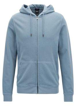 BOSS Hugo Zippered cotton hoodie sun-faded effect L Open Blue
