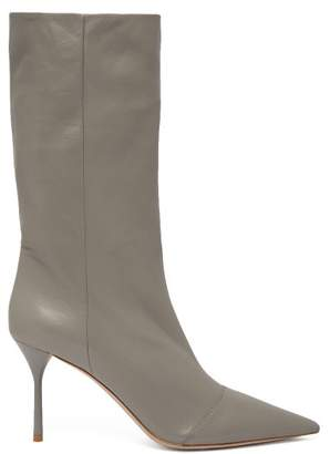 Miu Miu Slouch Point Toe Leather Ankle Boots - Womens - Grey