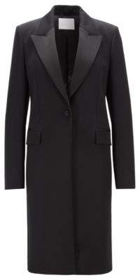 BOSS Hugo Tuxedo-style coat in Italian virgin wool 0 Black