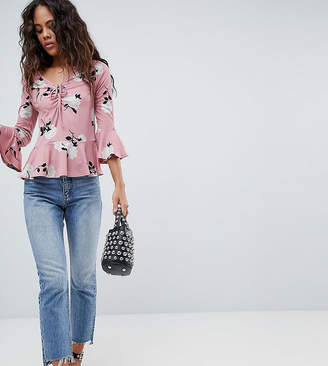 New Look Tall Printed Ruch Front Top