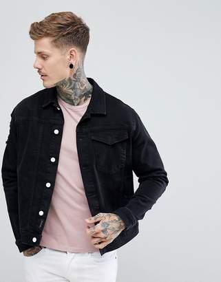 Religion Black Denim Jacket With Distressing