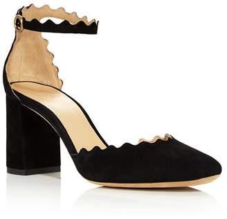 Chloé Women's Lauren Scalloped Suede Ankle-Strap Pumps