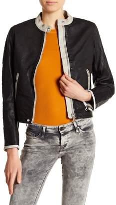 Diesel Front Zip Cowhide Leather Jacket