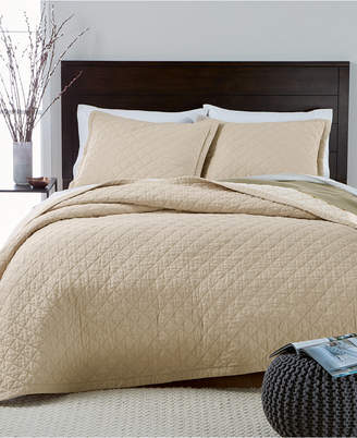 Martha Stewart Collection Closeout! Collection Linen-Cotton Broadstitch Diamonds Full/Queen Quilt, Created for Macy's, Tan