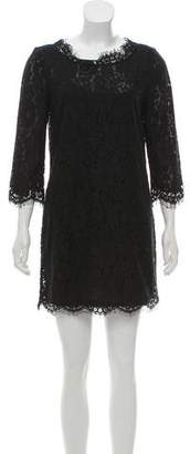 Joie Lace-Accented Mini Dress