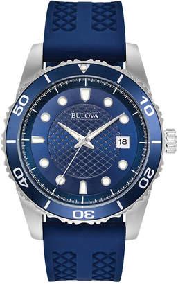 Bulova Men's Sport Blue Silicone Strap Watch 43mm 98B299 $225 thestylecure.com