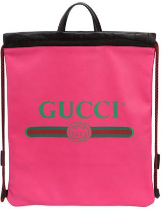 Gucci Vintage Logo Printed Drawstring Backpack