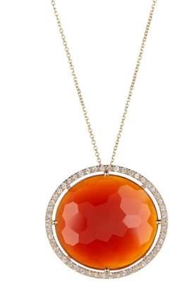 Suzanne Kalan 14K Yellow Gold Orange Chalcedony White Sapphire Pendant Necklace