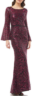 Carmen Marc Valvo Embroidered Boat-Neck Trumpet Gown