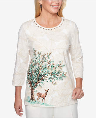 Alfred Dunner Classics Printed Embellished 3/4-Sleeve Top