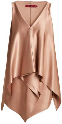 SIES MARJAN April draped-overlay silk-satin top