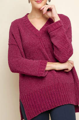 Umgee USA V-Neck Chenille Sweater
