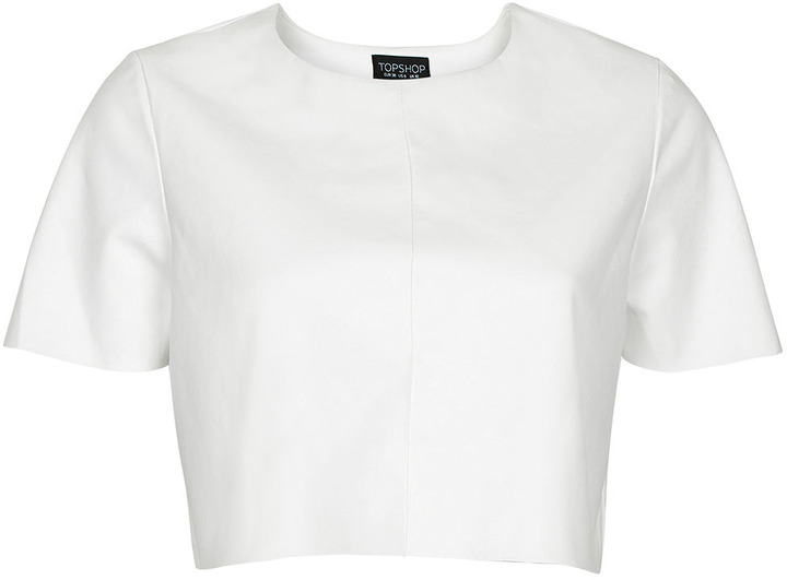 Topshop Leather-look Crop T-shirt