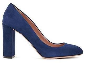 HUGO BOSS Block-heel pumps in Italian suede with leather soles