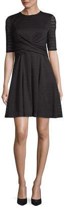 London Times Short Sleeve Stripe Fit & Flare Dress-Petite