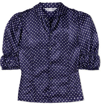 Comme des Garcons Ruched Polka-dot Washed-satin Blouse - Navy