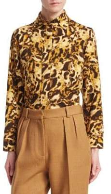 Victoria Beckham Tabby Print Fitted Blouse