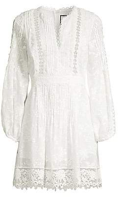 Alexis Women's Artemis Plisse Lace Silk-Blend A-Line Tunic Dress
