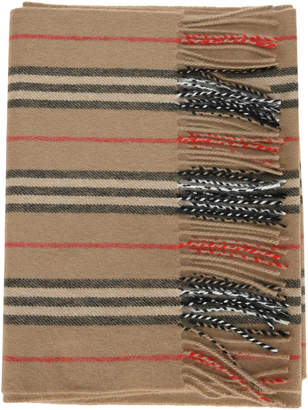 Burberry Cashmere Scarf With Iconic Striped Pattern