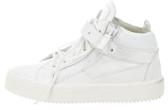Giuseppe Zanotti Patent Leather High-Top Sneakers $250 thestylecure.com