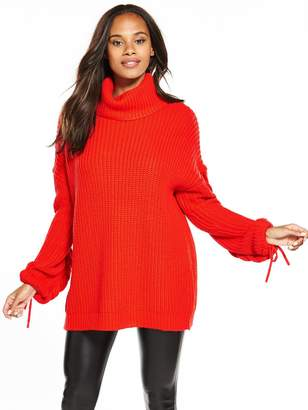 Very Cowl Neck Slouch Rib Plaited Cable Tunic